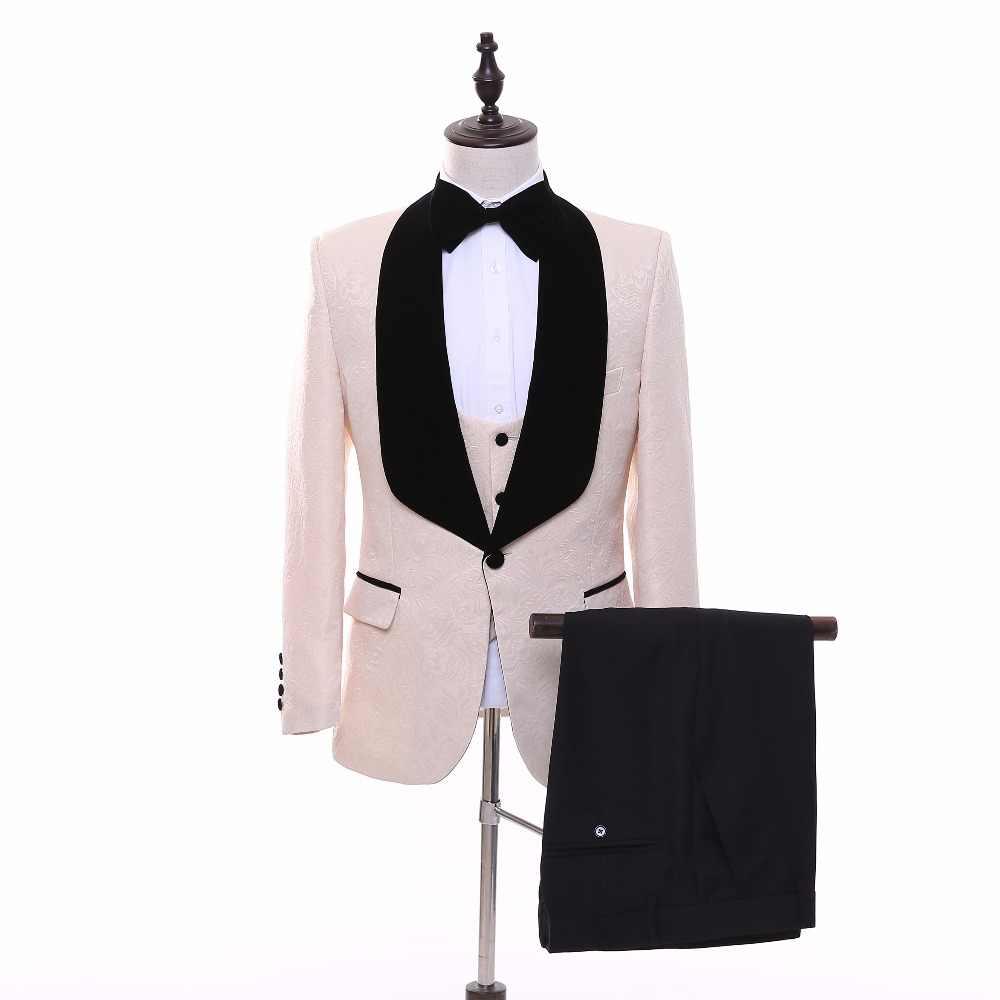 新しい到着の付添人ショールラペル新郎タキシード赤/白/黒/ピンク男性スーツウェディング最高の男ブレザー(ジャケット+パンツ+ネクタイ+ベスト)