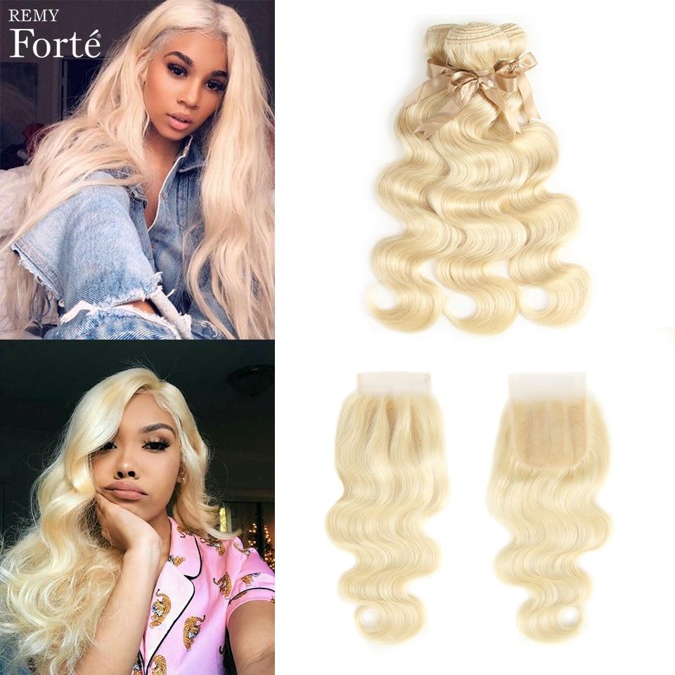Remy Forte 613  Blonde Bundles With Closure Body Wave Bundles With Closure Brazilian Hair Weave Bundles 3/4 Bundles Human Hair