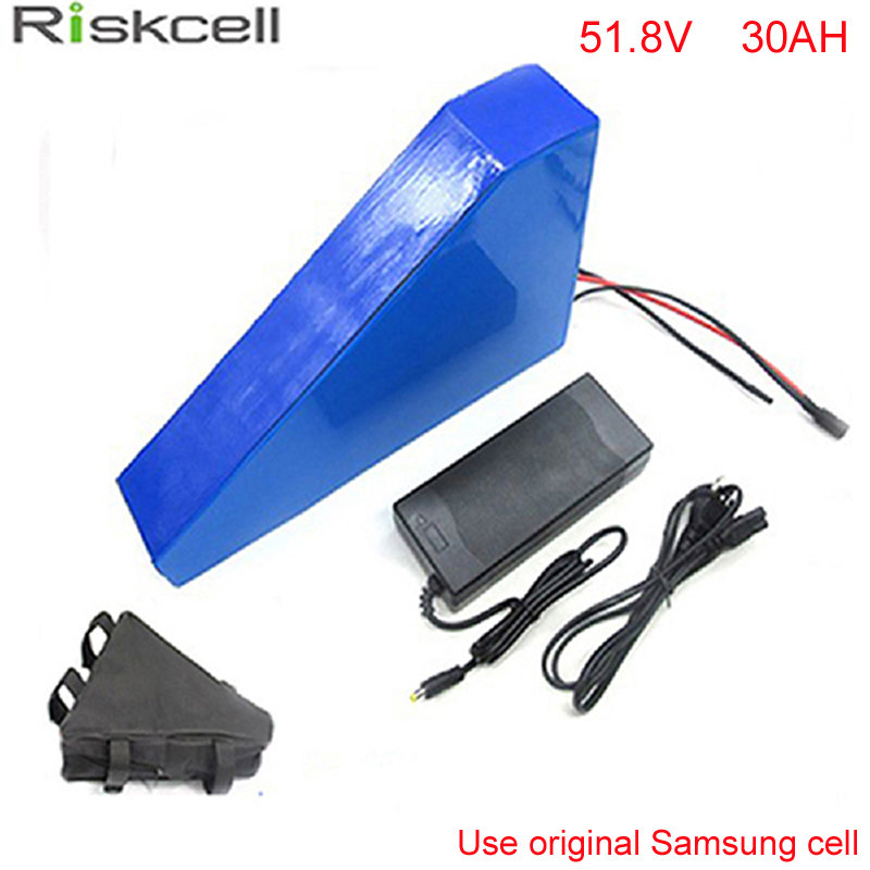 Triangle style ebike battery 51.8v electric bike battery 52V 30Ah,for bafang/8fun 1000w motor with BMS Chargrer For Samsung cell triangle style ebike 48v battery electric bike battery 48v 25ah for bafang 8fun 1000w moto with bms charger for panasonic cell