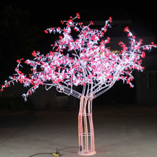 2.0Meter high 1944leds outdoor artificial trees light with White+Red color