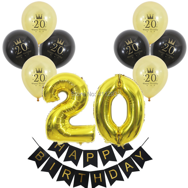 20th Birthday Balloon Happy Banner Number 20 Digital Ballons Party Balls Gold Black
