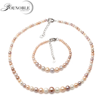 Wedding round freshwater pearl jewelry set women,multi color pearl set necklace bracelet 925 silver accessory anniversary gift