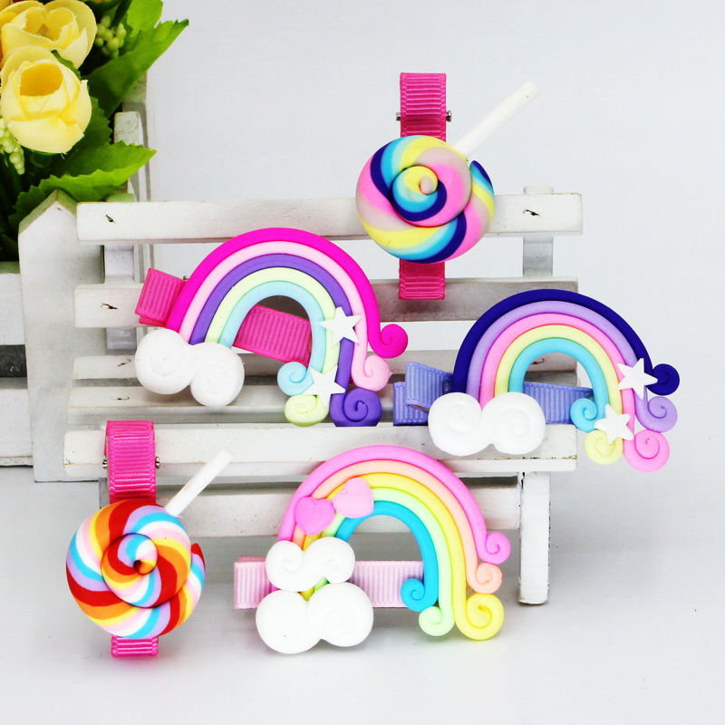 isnice Gum For Kids Hair Accessories 5cm Hair Clips Summer Fashion Rainbow Lollipop Girls Hair Accessories Clip Hairpin Barrette