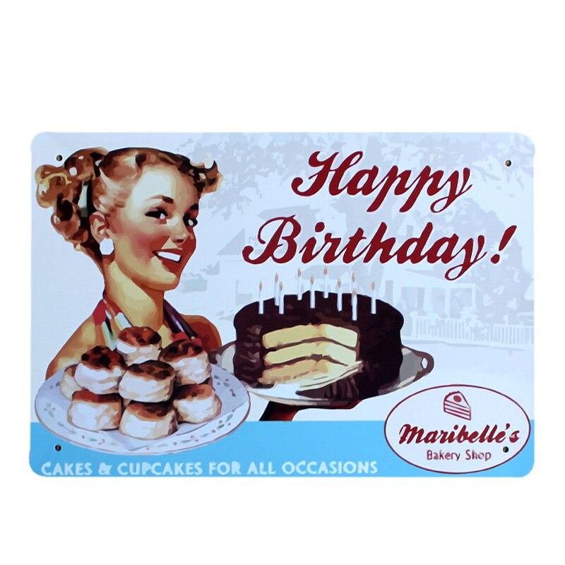 Happy Birthday Cake Sexy Lady Metal Painting Bar Cafe