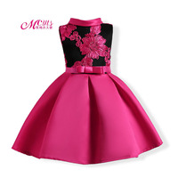 New Summer Girls Party Princess Dresses Sleeveless Embroidered Champagne Wedding Pageant Dress For Girls 3 4