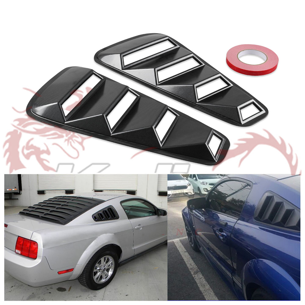 For Ford Mustang 1//4 Quarter Carbon Style Side Window Louver Scoop Cover Vent