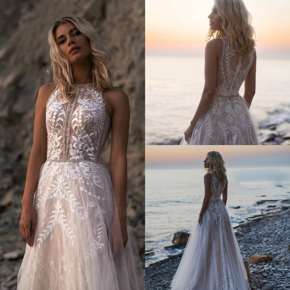 Gallery Bohemian Wedding Dresses: 2019 Bohemian Wedding Dresses Jewel Lace Appliques Beads