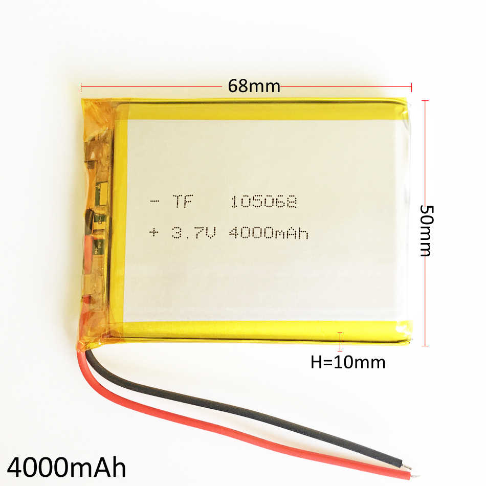3.7V 4000mAh 105068 Lithium Polymer LiPo Rechargeable battery For DIY GPS PSP Power bank Tablet PC Laptop MID DVD PAD wholesale 3 7v lithium polymer battery 3649135 2850mah mobile power tablet pc diy