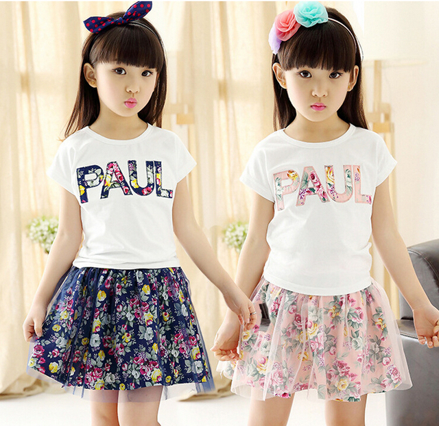 2016 new summer styles girls cotton PAUL floral gauze skirt suit skirt suit 2-7 years old girl
