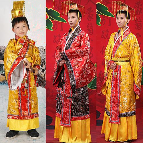 Adult kids chinese male costume chinese hanfu dress mens boys emperor king Stage Clothes costumes robe+hat ancient tang