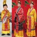Adulto crianças traje masculino chinês hanfu chinese dress mens meninos imperador rei roupas de palco trajes cosplay manto + chapéu antigo tang
