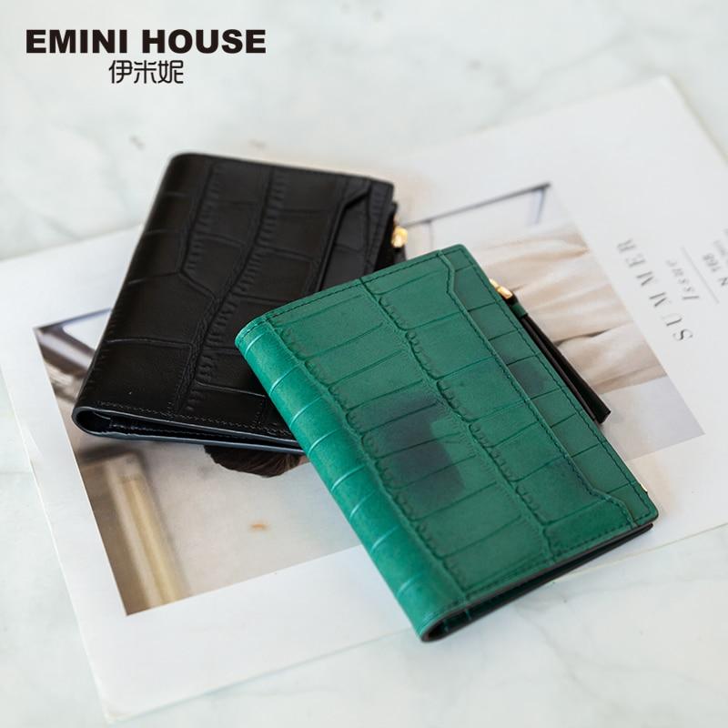 EMINI HOUSE Crocodile Pattern Cowhide Wallet Genuine Leather Short Wallet Zipper Ladies Purse Mini Coin Purse Retro Mini Bag