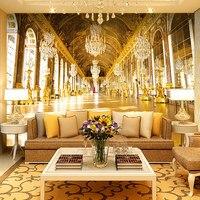 Özelleştirilmiş Lüks Avrupa Kraliyet Sarayı Duvar Kağıdı Rulo Otel Oturma Odası Kanepe TV Arka Plan dokunmamış Duvar Duvar Kağıdı