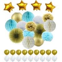 Blau Weiß Gold Seidenpapier Pom Poms & Waben Ball & Laterne, Folie Star & Latex Luftballons für Party hochzeit Baby-dusche Dekorationen