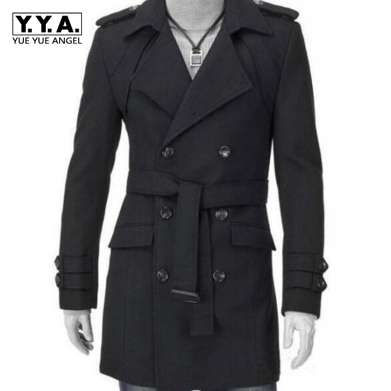 New Business High Quality Pea Coat With Sashes Men Wool Coat Male Casual Slim Fit Winter Casual Overcoat Men Long Wool Blends