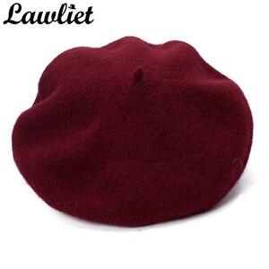 Image 5 - Lawliet נשים כומתת חורף כובע 1920s שיק סגנון 100% מבושל צמר קשת פרטים חורף כפת Skullies הבסקים צרפתית אמן מצנפת