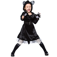 Umorden Halloween Purim Party Costumes for Girls Girl Animal Black Cat Costume Cosplay Hooded Dress Kids