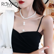 ROMAD Exaggerated Big Pearl Necklace For Women Fashion Statement Jewelry Punk Chokers fashion jewelry Simulated R