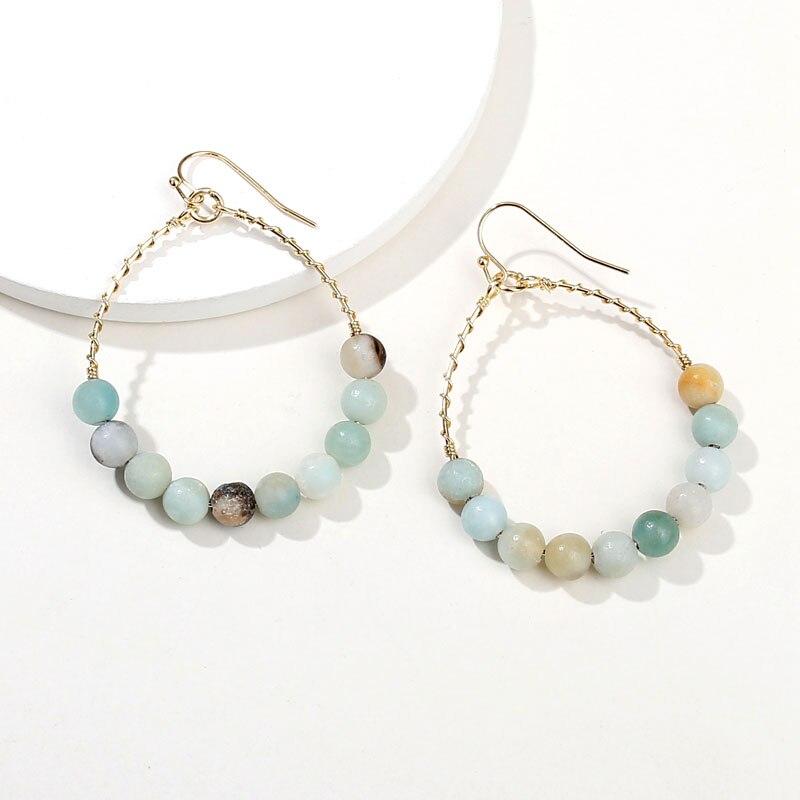 100% Wahr Hui Dang Einzigartige Design Gewickelt Natürlichen Stein Perle Hoop Ohrringe Trendy Frauen Schmuck Kreis Ohrring