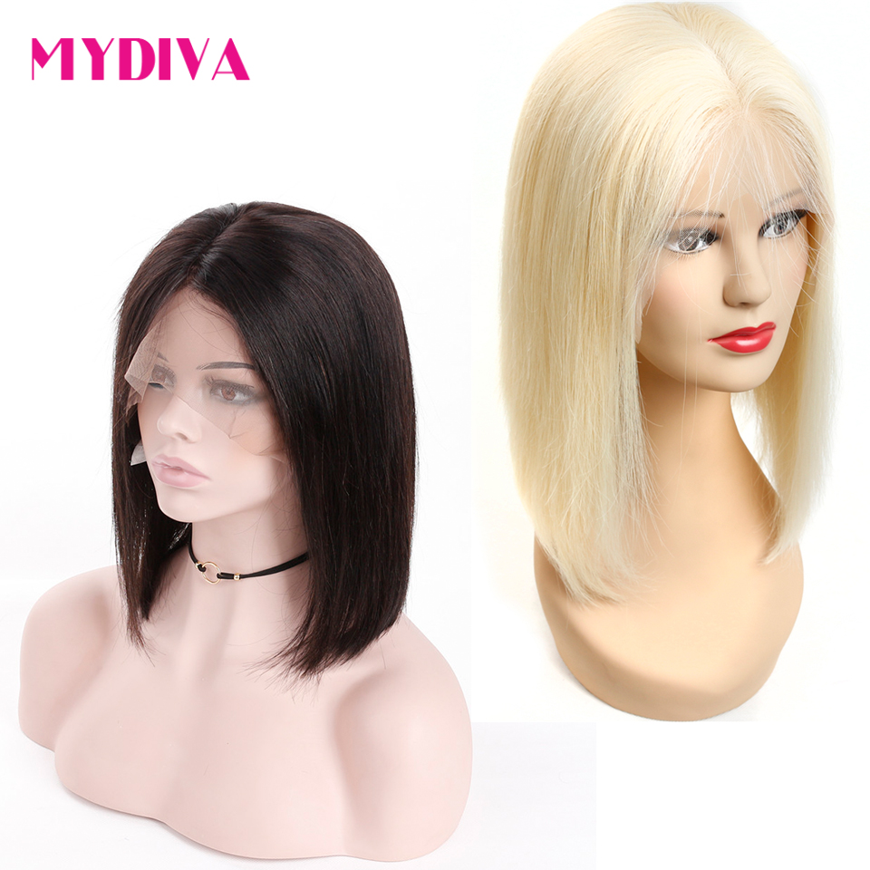 613 Blonde Lace Front Wig Short Bob Wig Straight Lace Front Human Hair Wigs Pre Plucked With Baby Hair For Women Remy Mydiva-in Human Hair Lace Wigs from Hair Extensions & Wigs    1