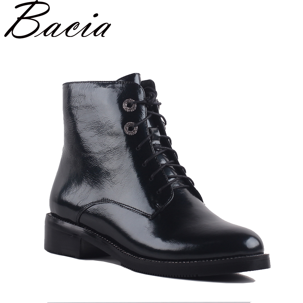 Bacia Women's Boots Genuine Leather Ankle Boots Round toe lace up Woman Casual Shoes r Autumn Winter Short Plush Boots SA069 mens autumn winter round toe martin boots black genuine leather ankle plush short boots for men casual flat lace up cotton shoes