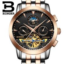 2017  luxury men's watch BINGER brand Mechanical Wristwatches sapphire full stainless steel Moon Phase clock B1188-6