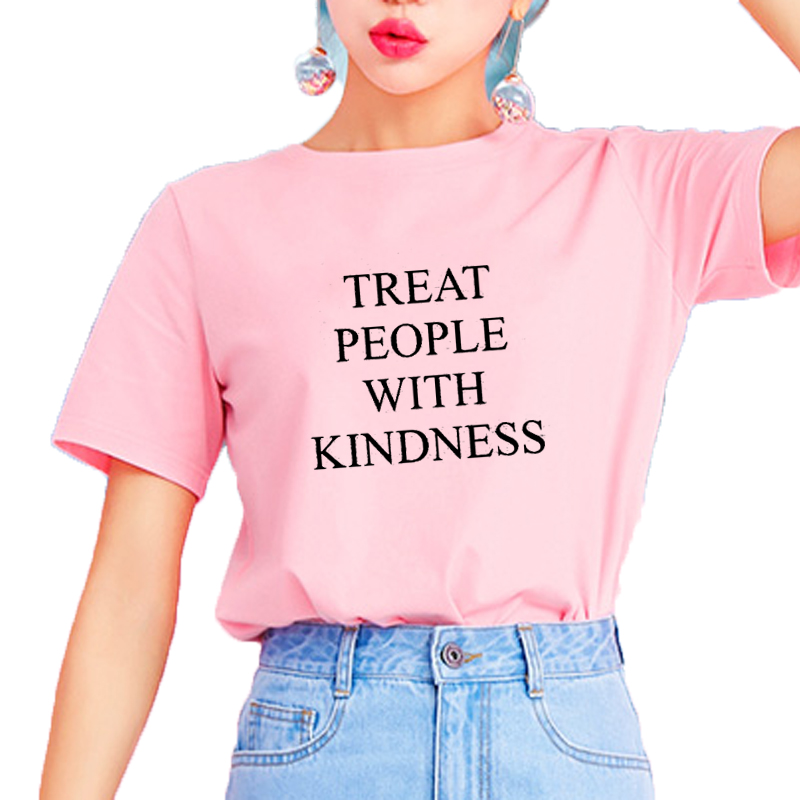 Harry Styles Treat People With Kindness T-Shirt Women T Shirt Femme Fashion Letter Printed Asual Yellow Pink Feminist Tee Tops