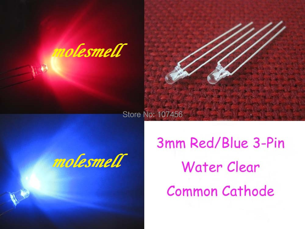 Free shipping 500pcs 3mm Dual Bi-Color Red/Blue Bright 3-Pin Led Common Cathode Leds Lamp 3mm water clear 3pin R/B led