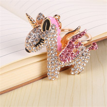 Metal Unicorn Key Ring with Rhinestone