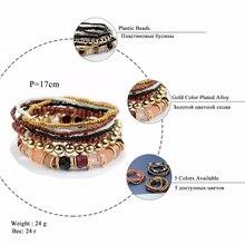 Bohemian Fashion Jewelry Mutilayer Beads Bracelets & Bangles for Women Elastic Strand