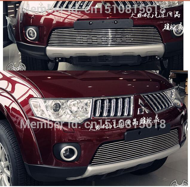 Quality Stainless steel Car front bumper Mesh Grille Around Trim Racing Grills 2011 -2013 for Mitsubishi Pajero Sport