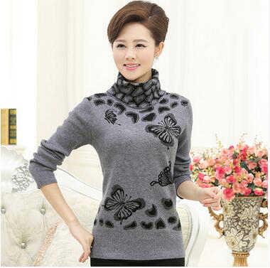 Новинка 2019 года зима для женщин свитер с длинным рукавом принтом бабочки Вязаный Пуловер высоким воротником свитер свободного покроя для женщин удобные WUN142