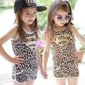 2015 Niña Trajes de niños que arropan Juegos de leopardo letra S chaleco Superior del cabrito Sin Mangas + Pantalones Cortos 2 unids