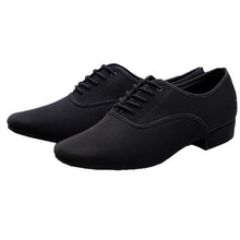 Men's Latin Ballroom Dance Shoes Professional Black Canvas Latin Salsa Shoes Plus Size Low Heel Tango Ballroom Dance Shoes