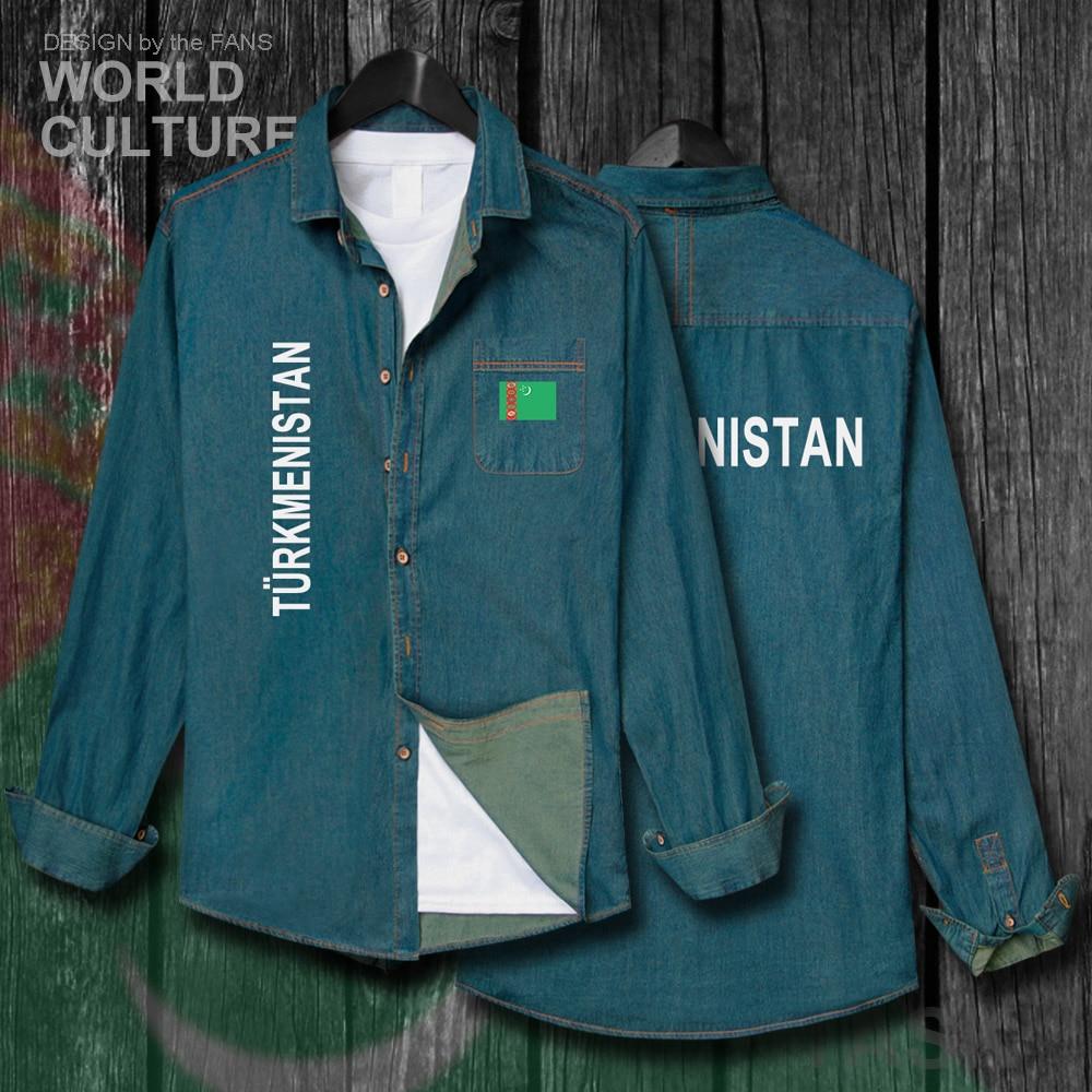Turkmenistan Turkmen TKM Men Fashion Clothes Spring Autumn Cotton Flags Turn-down Collar Jeans Shirt Long Sleeve Cowboy Coat New