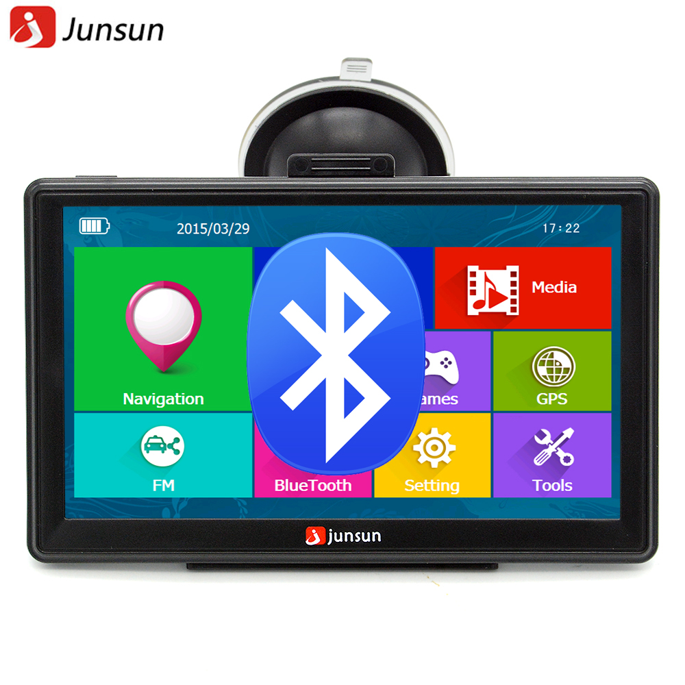 Junsun 7 inch Car font b GPS b font Navigation Bluetooth AVIN FM 8GB 256MB Capacitive