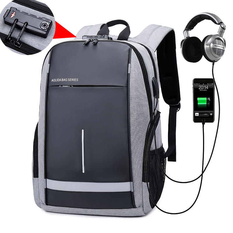 Drop Shipping 2019 New Men Backpacks 14 Laptop Backpack USB Charger Bag Anti theft Backpack for