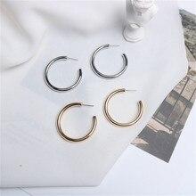 Europe America Hyperbolic Vintage Round Circle Letter C Simple Hoop Earrings Fashion Jewelry-LAF