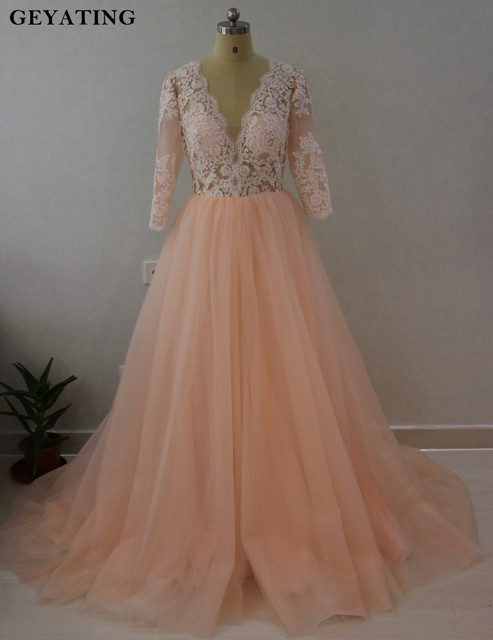 Blush Pink Ball Gown Wedding Dress Long Sleeve Lace Appliques ...