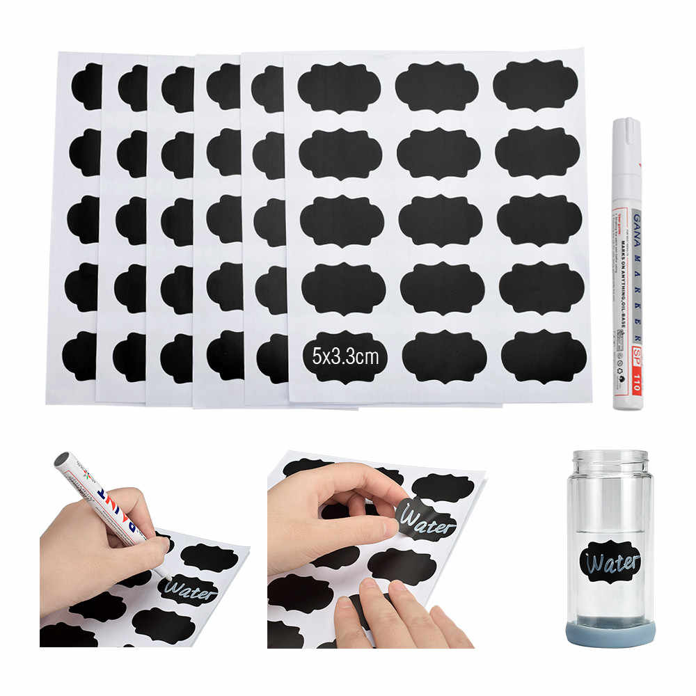 90pcs Herbruikbare Blackboard Stickers Verwisselbare Keuken Sticker Labels Potten Fles Cup Krijtbord Stickers Muursticker Met Pen