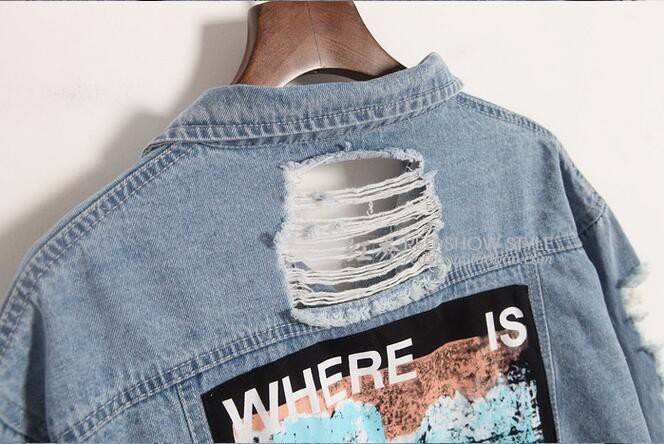 Where is my mind? Korea Kpop retro frayed embroidery letter patch women's denim bomber jacket Ripped Distressed Blue Coat Female 4