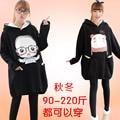 Большой размер женщин длинный жакет зимой черный мультфильм беременные женщины осенью и зимой одежда материнства платье