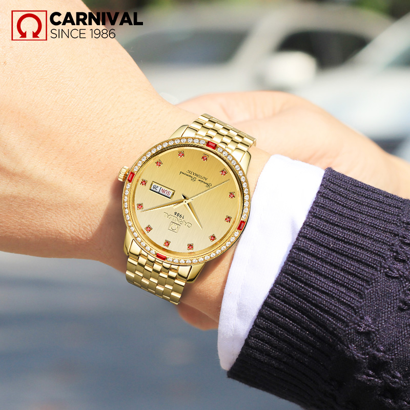 2017 CARNIAVL Crystal Inlaid Gold Men Watche TopBraand Luxury Fashion Classic Waterproof Automatic Mechanical relogio masculin in Mechanical Watches from Watches