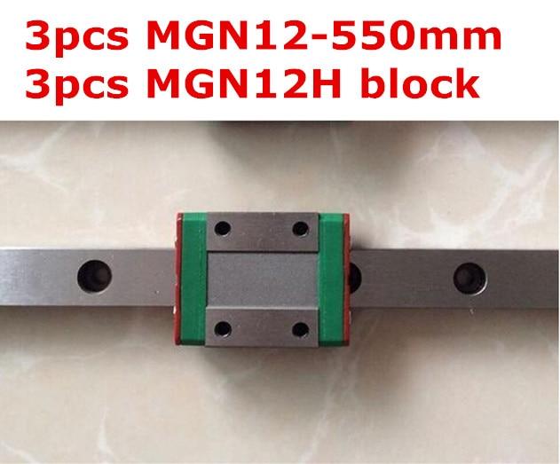 Kossel  MGN12 12mm miniature linear rail: 3pcs MGN12 - 550 mm rail + 3pcs MGN12H long type carriage mgn12 12mm miniature linear rail slide mgn12h carriage for 3d printer