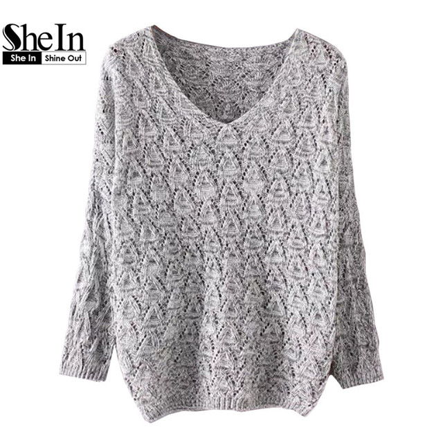 SheIn Autumn 2016 Womens Fall Fashion Thin Sweater Women Sweaters and Pullovers V Neck Loose Textured Oversized Sweater