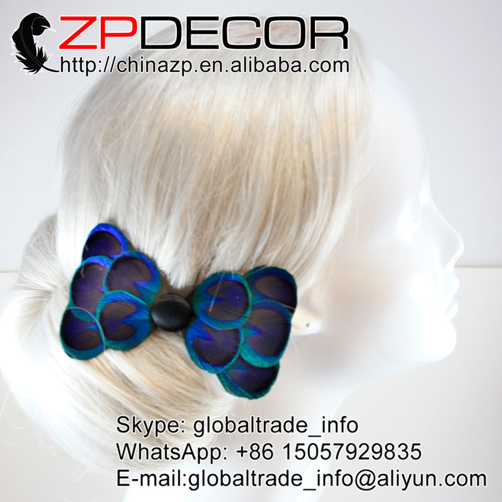 ZPDECOR Top Quality Handwork Dyed Blue Peacock Feather Headwear Clip for Party Hair Accessories