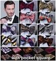 De Paisley Sthipe 100% de seda tecido Jacquard homens borboleta do laço praça BowTie Pocket lenço Hanky Set # B7