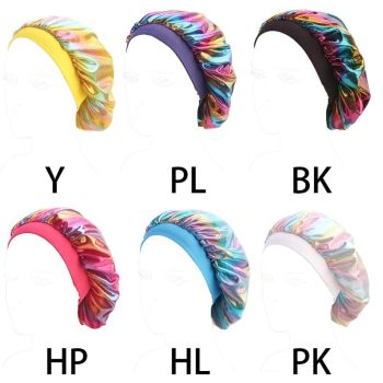 Faux Silk Bonnet Wide Band Soft Sleep Cap Glitter Reflective Rainbow Colorful Head Covering Ruched Hair Loss Chemo Cap 6 Colors