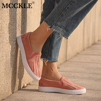 MCCKLE Women Shoes Cut Outs Flat Elastic Band Round Toe Slip On Comfortable Platform New Woman