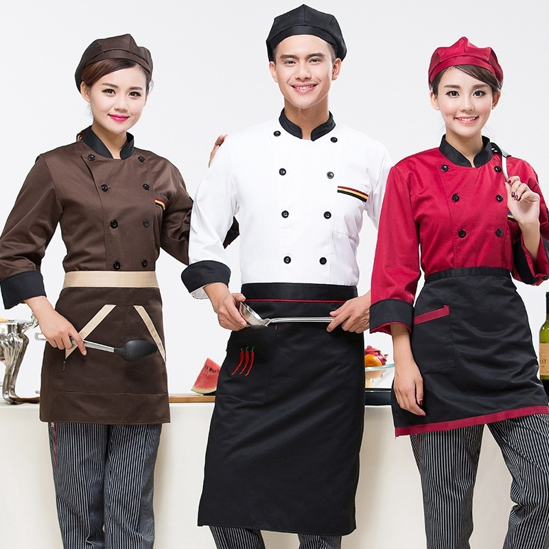 Us 15 36 16 Off Chef Clothing Long Sleeved Autumn And Winter Hotel Kitchen Uniforms Restaurant Restaurant Chef Men And Women Chefs Uniforms In Chef